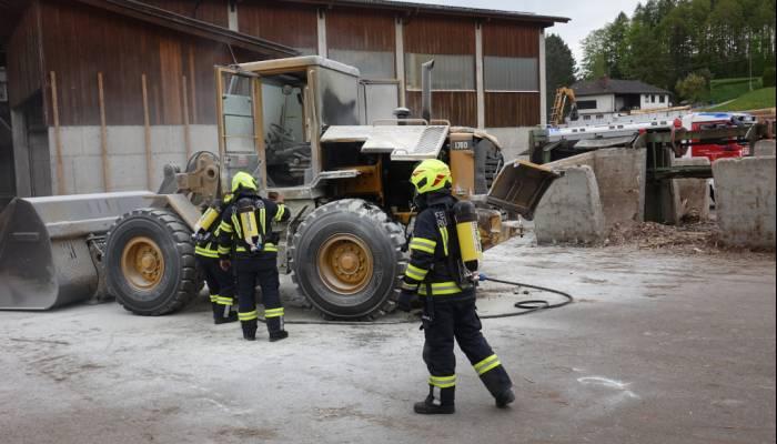 Radladerbrand in Sägewerk
